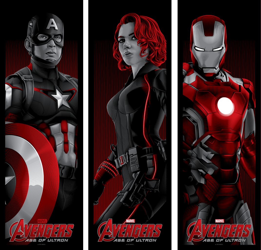 Marvel's Avengers: Age of Ultron Screen Print Triptic by Tracie Ching - Captain America, Black Widow & Iron Man