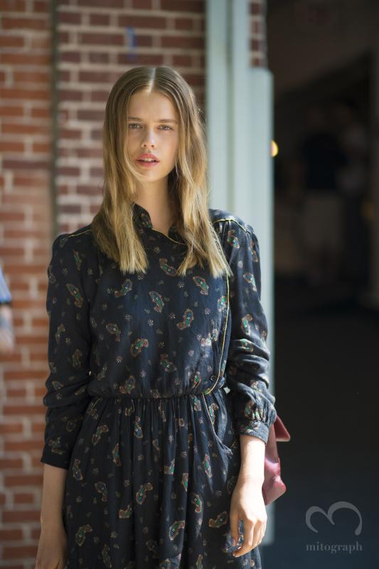Model Stina Rapp Wastenson leaves Tanya Taylor show during New York Fashion Week 2015 Spring Summer NYFW
