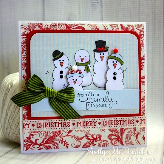 Snowman Family card by Shellye McDaniel for Newton's Nook Designs - Flaky Family Snowman Stamp Set