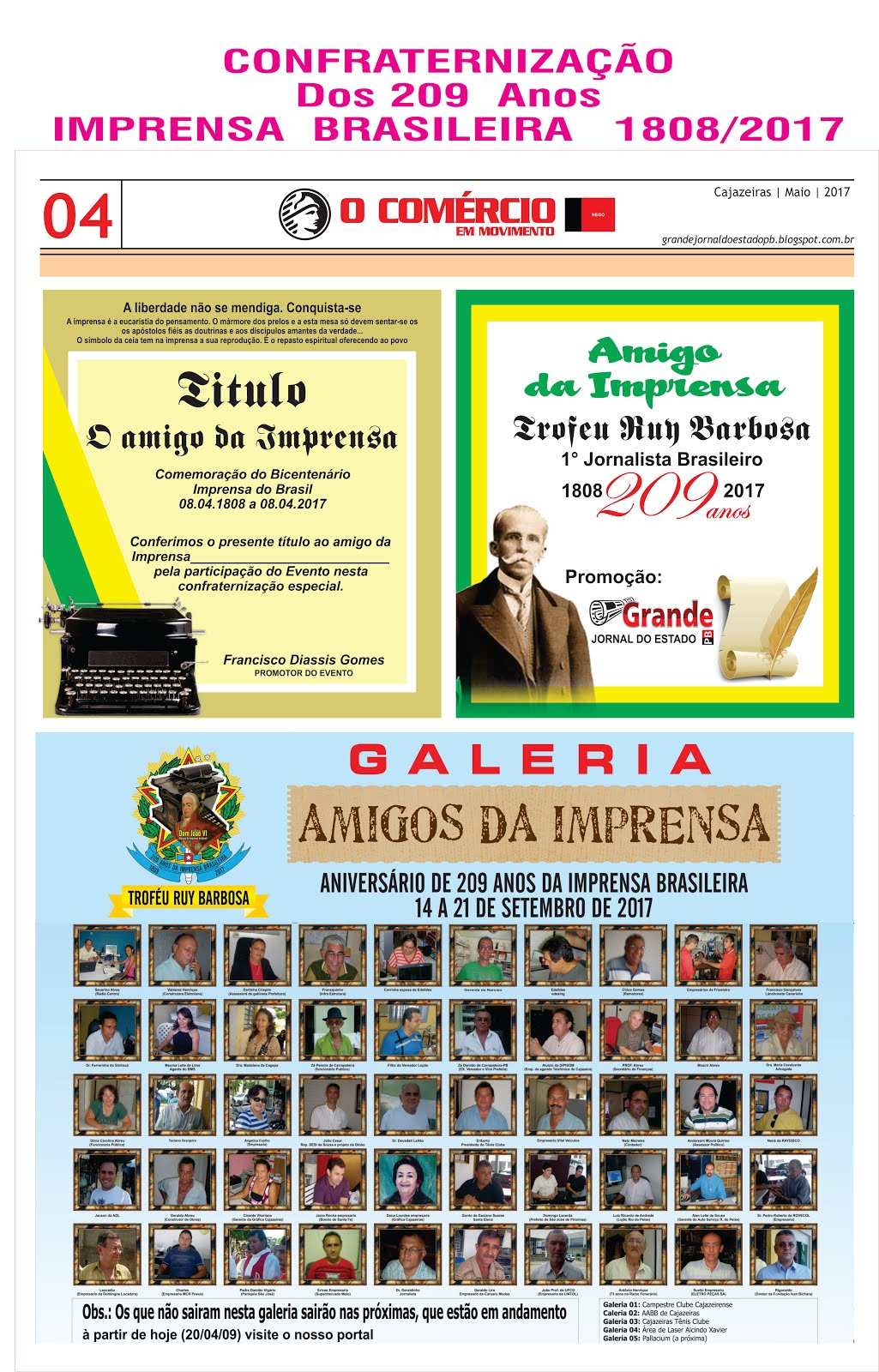 uma  das galerias  O AMIGO DA IMPRENSA  209  NO BRASIL
