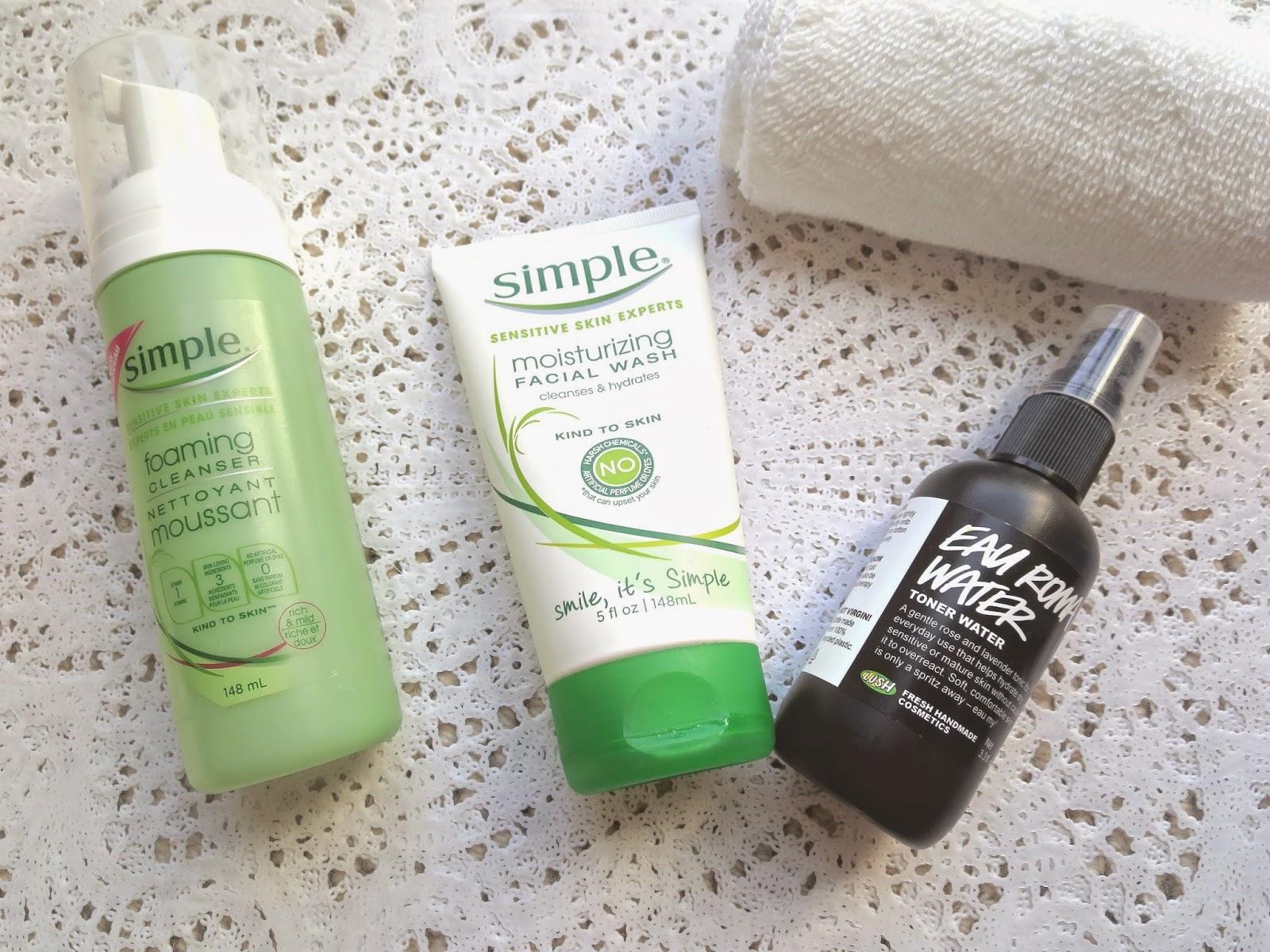 a picture Sensitive skin cleansers & Toner ; Simple Foaming Cleanser, Simple Moisturizing Facial Wash, Lush Eau Roma Toner