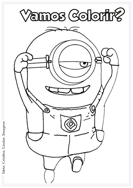 Desenho Minion comemorando Meu Malvado Favorito para colorir