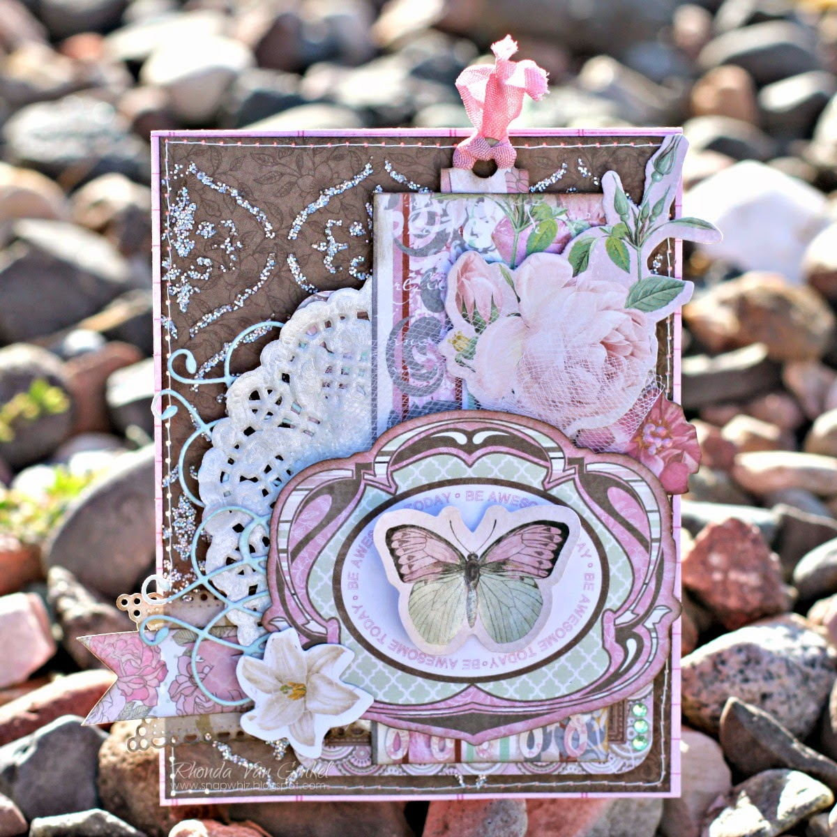 Be Awesome Today Card by Rhonda Van Ginkel using Primrose and Madeleine BoBunny Collections