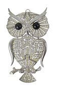 Owl Rhinestone and Sliver Necklace Pendent