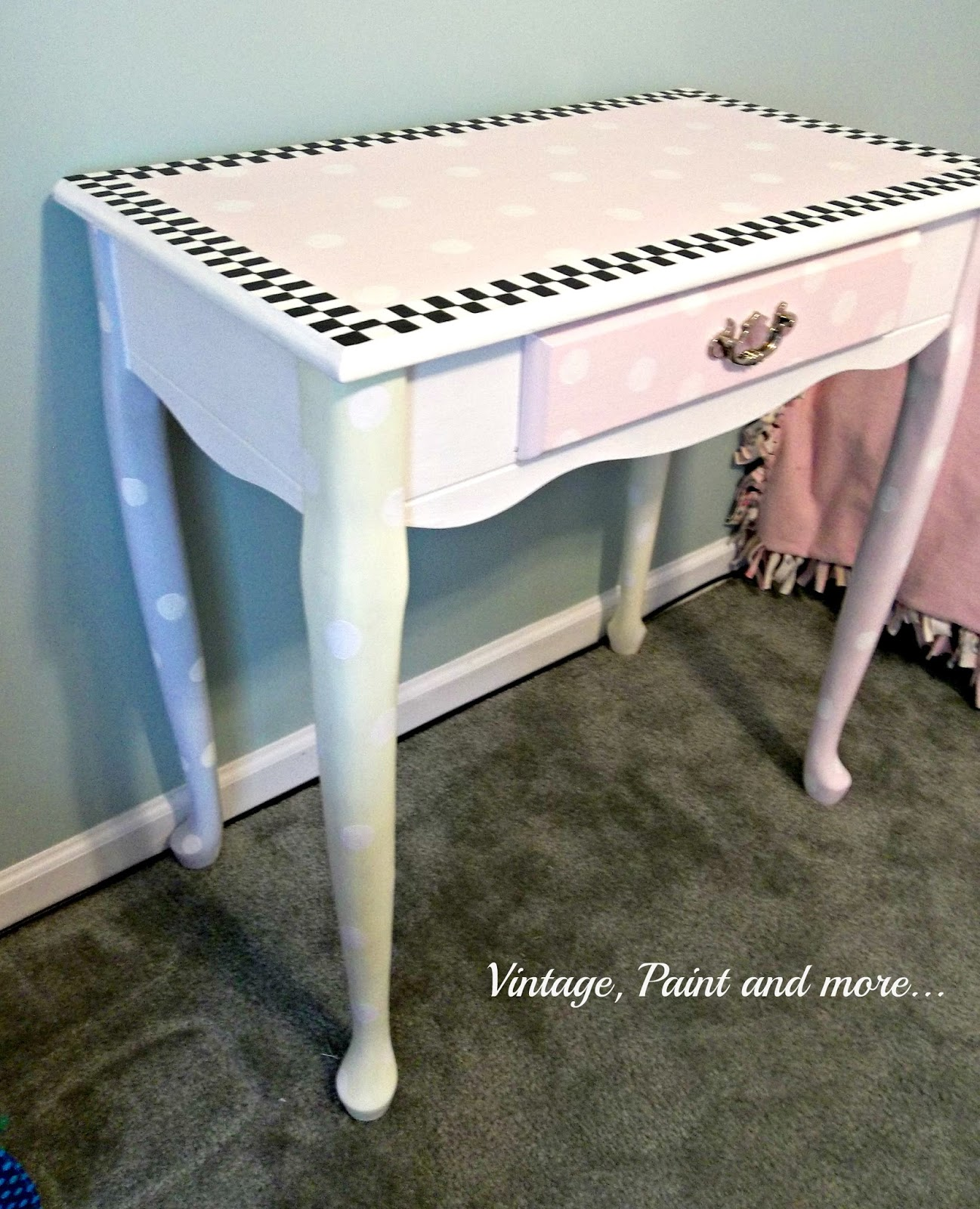 Vintage, Paint and more... thrifted desk decorative painted with polka dots and black and white checks