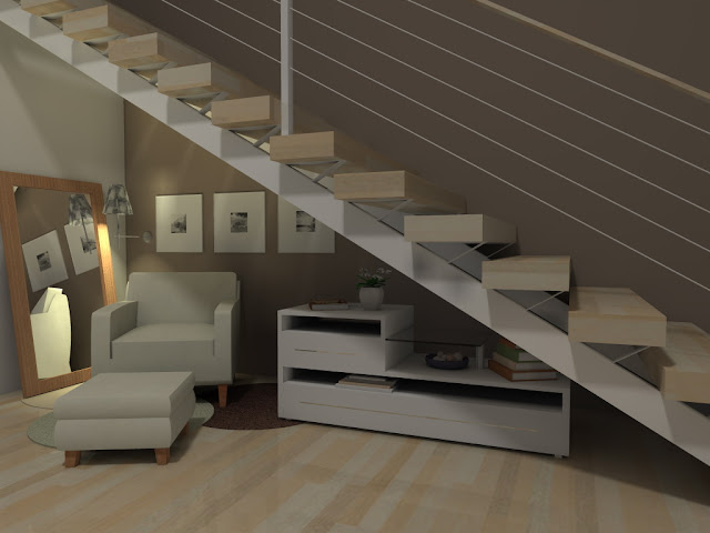 decoracao de paredes de escadas interiores: , um aparador com livros, revistas e um vasinho de flor! Lindo