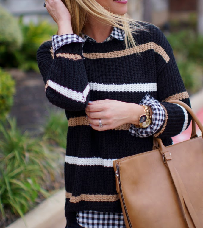 Stripes and gingham pattern mixing