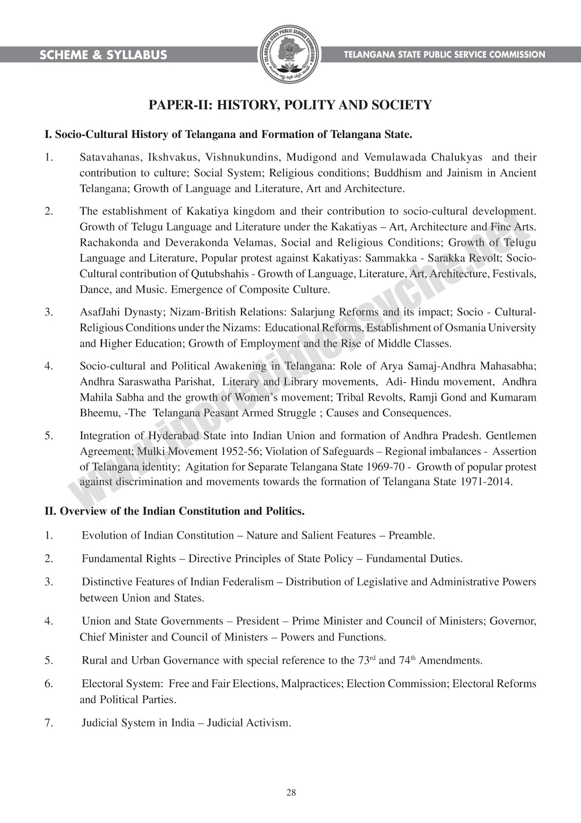 Telangana TSPSC Group III Services Posts  Paper -II Examination Syllabus