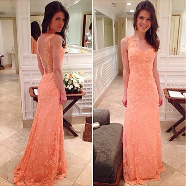 Nice Mermaid V-Neck Applique Sleeveless Lace Backless Floor-Length Dress