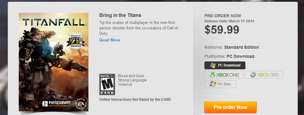 Origin Store : Titanfall Beta is coming