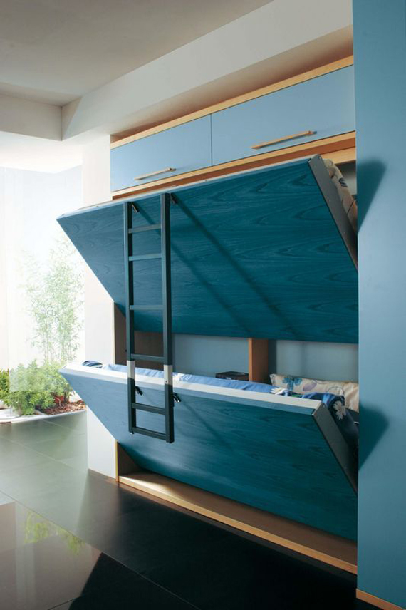 Space saving kids beds design dazzle In wall bunk beds