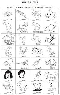 Atividade para alfabetização - Complete a letra inicial 4.