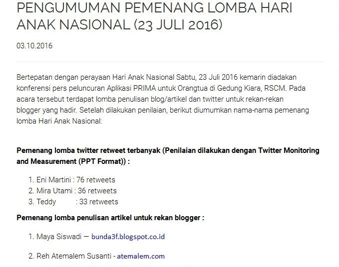 Juara I Lomba Blog Apps Prima (IDAI)