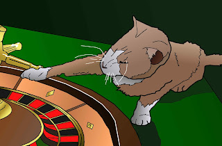 casino cat spinning roulette wheel