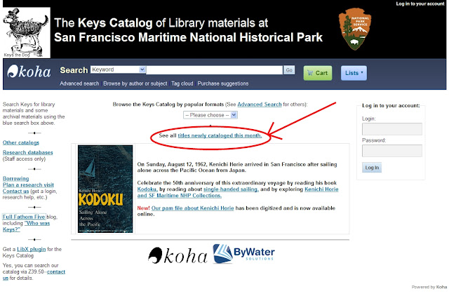 "Keys Catalog screenshot with red oval over the ""new titles"" link in the center of the page"