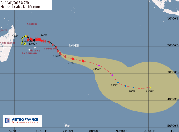 Cyclone tropical intense Bansi: le point à 22h