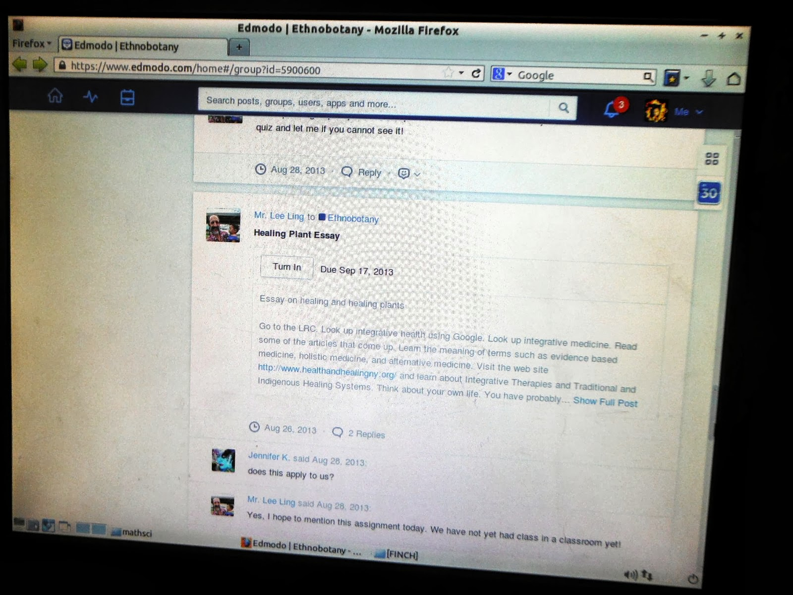 edmodo assignment submission in this instance the student must scroll down to the assignment as the posts are in reverse chronological order