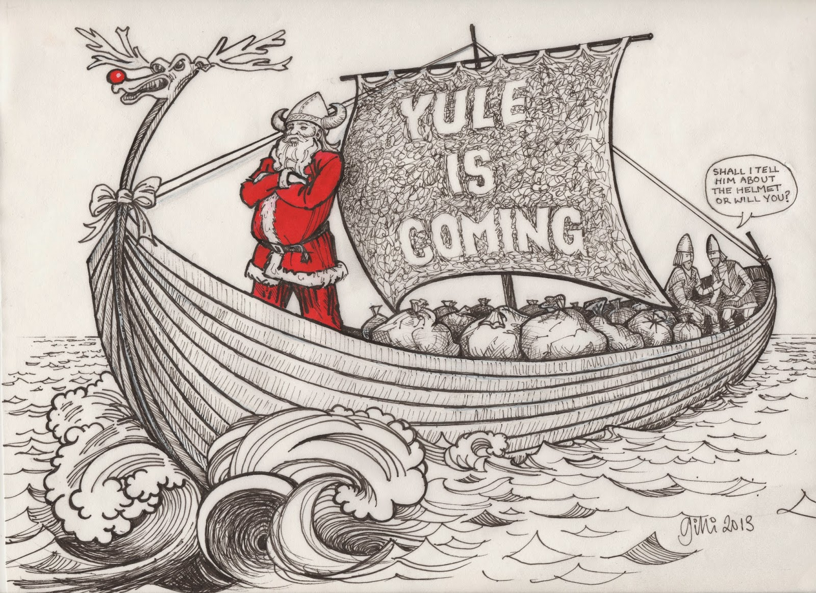 one of the very welcome bonuses of the whole project was that it gave me the idea for our 2013 christmas card - Viking Christmas
