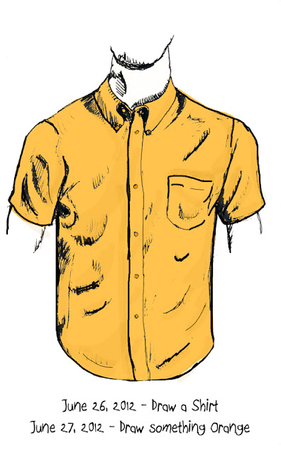Every Day in June #26 (EDM #286) - Draw a shirt - Every Day in June #27 (EDM #296) - Draw something orange - Pen and Ink with digital Colour ©Ana Tirolese