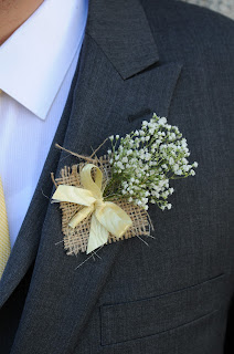 Burlap and babies breath boutonniere