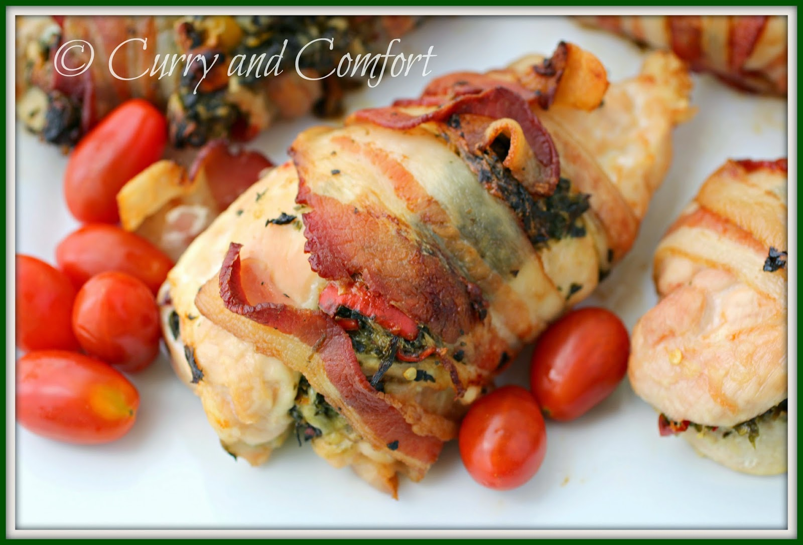 Curry and Comfort: Spinach and Feta Stuffed Chicken wrapped in Bacon
