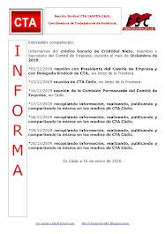 C.T.A. INFORMA CRÉDITO HORARIO CRISTOBAL NIETO, DICIEMBRE 2019