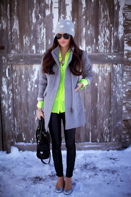 Neon Shirt With Grey Long Coat And Leather Leging