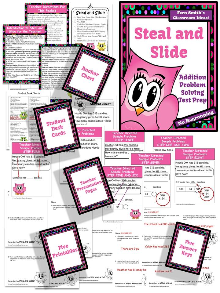 http://www.teachersnotebook.com/product/FernSmith/steal-and-slide-test-prep-presentation-and-printables-addition-no-regrouping
