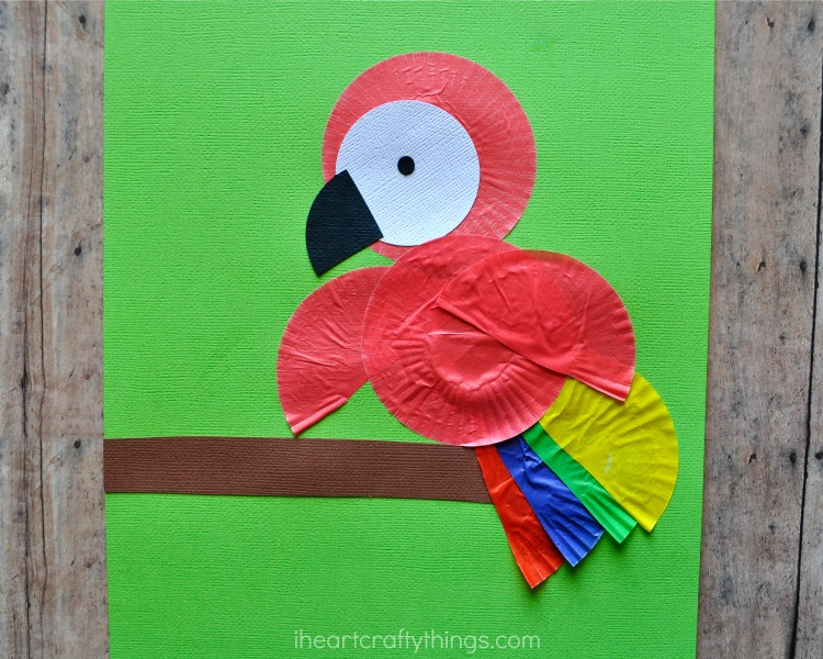 Cupcake Liner Parrot Kids Craft & Cupcake Liner Parrot Kids Craft | I Heart Crafty Things