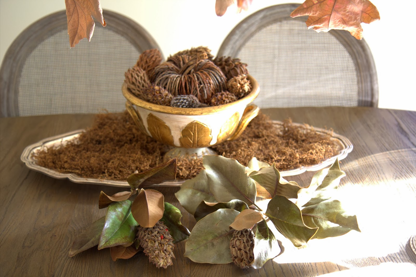 Making Pumpkin and Pinecone Centerpiece