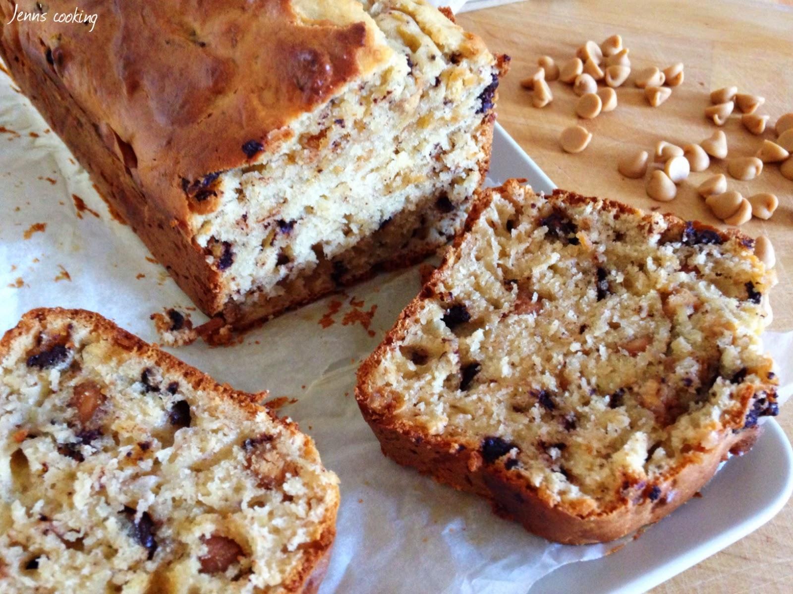 Jenn 39 s cooking cake banane beurre de cacahu te aux p pites de chocolat - Gateau beurre de cacahuete ...