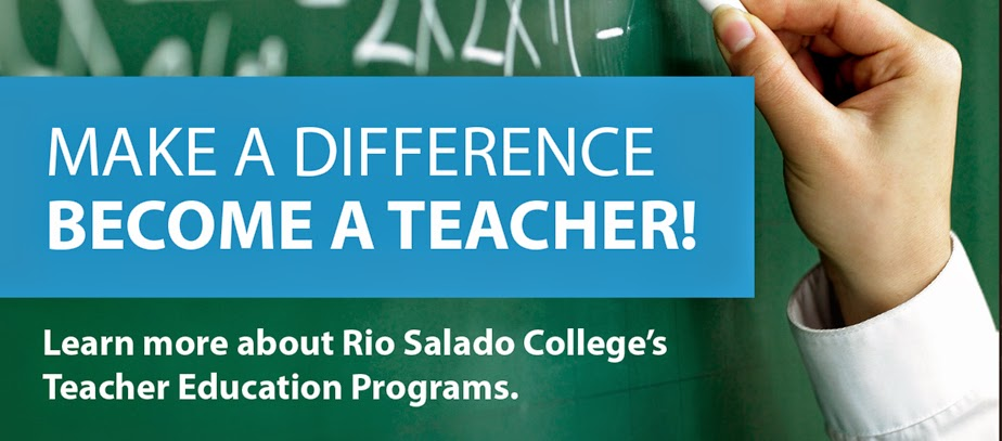 Image of teacher writing on chalk board.  Text: Make a Difference.  Become a Teacher.  Learn more about Rio Salado College's Teacher Education Programs.