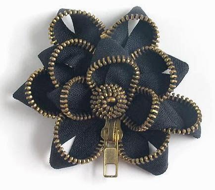 Flor feita com ziper passo a passo