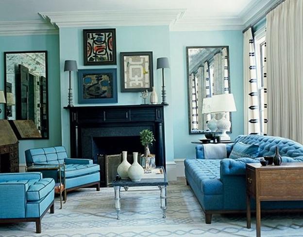 Sala De Estar Turquesa ~ Foto de decoración de sala con el color turquesa de protagonista, lo