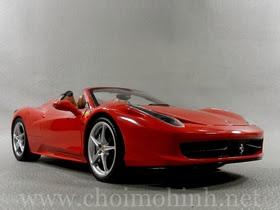 Xe mô hình tĩnh Ferrari 458 Spider RED hiệu Hot Wheels tỉ lệ 1:18