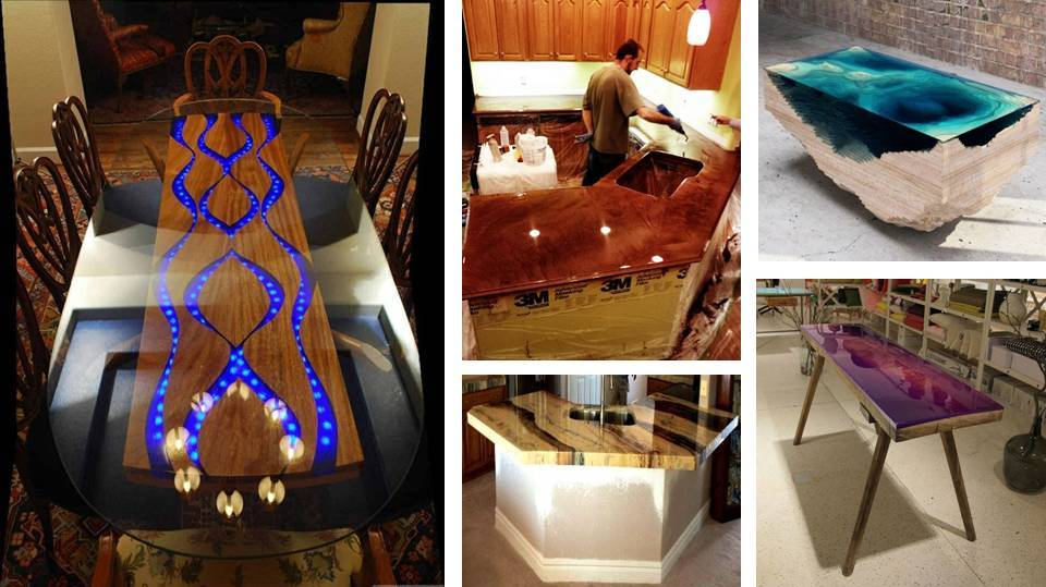 Home Decor Marvelous Epoxy Tables And Kitchen Countertops