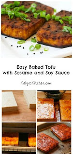 Easy Baked Tofu with Sesame and Soy Sauce [from KalynsKitchen.com]