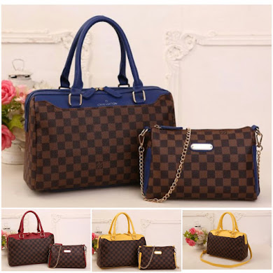 LV BAG ( 3 IN 1 SET ) - BLUE , RED , YELLOW