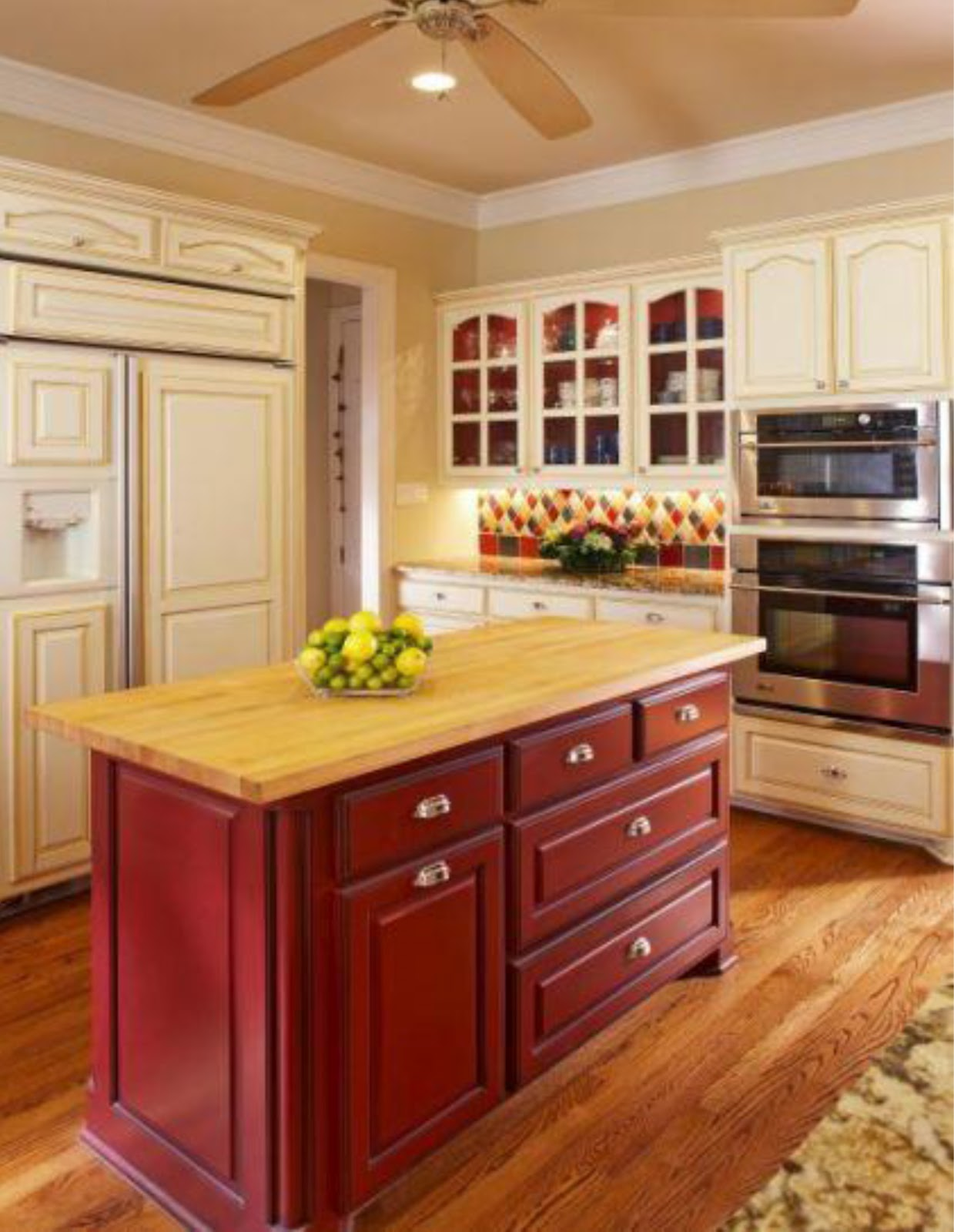 Simplifying remodeling two tone cabinet finishes double for Kitchen island cabinets