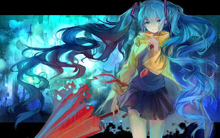 Miku Hatsune Umbrella Anime Girl Smiling School Uniform HD Wallpaper Desktop PC Background 1340