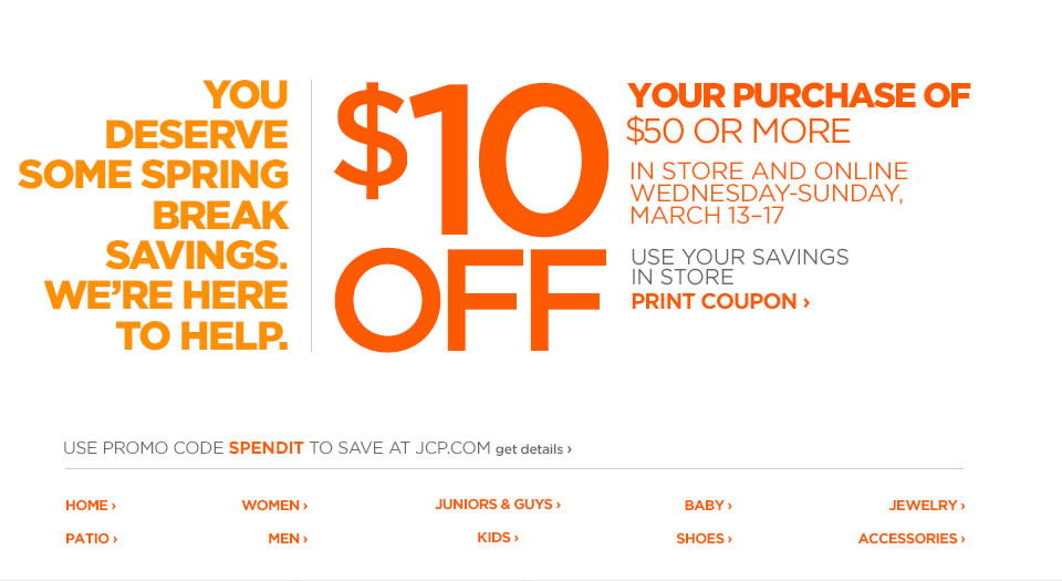 JcPenney Project – 10 off Coupon Template