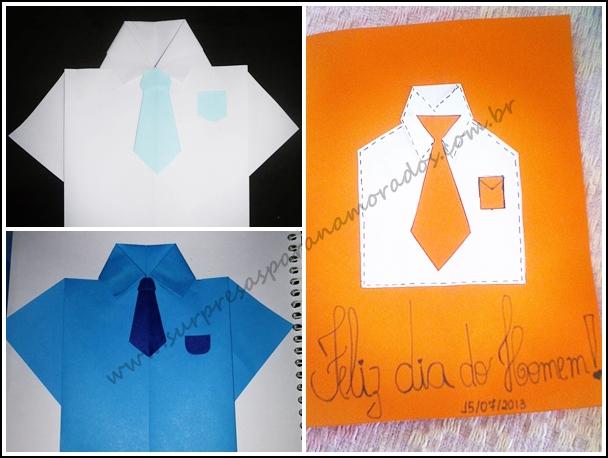 cartão camisa e gravata dia do homem