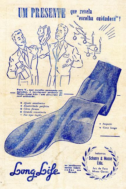 Propagandas das Meias Long Life (sugestão de presente) - anos 50
