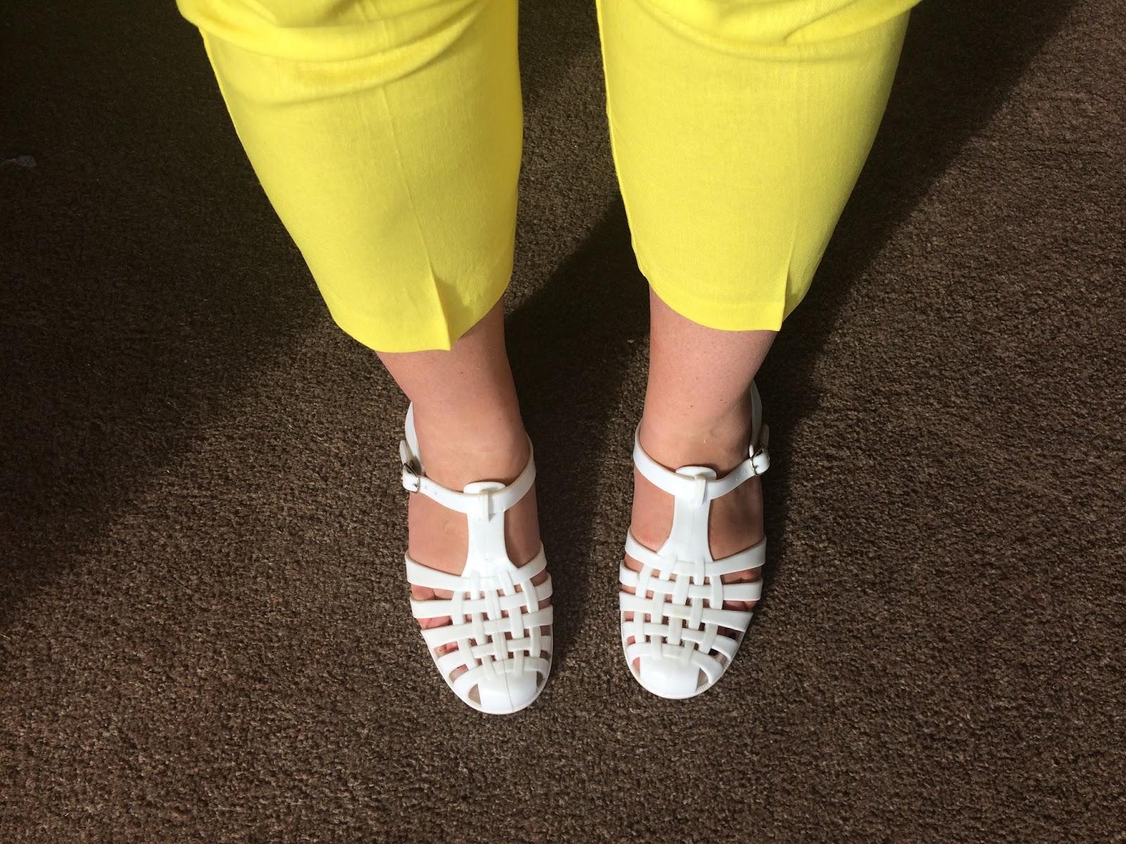 Primark White Lattice Flat Jelly Sandals