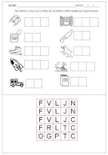 Hipótese de escrita silábica sem valor sonoro - Recorte e cole as letras do nome da figura.
