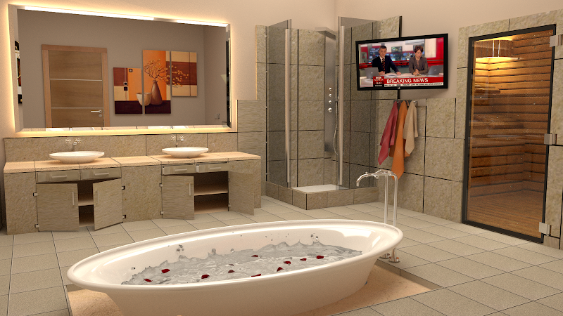 Below four next renders show my own design bathroom with a saun behind  title=