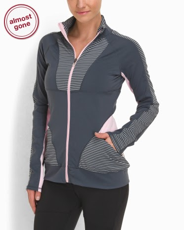 Style Athletics Pink Gray Stripe Kyodan JAcket Zipper