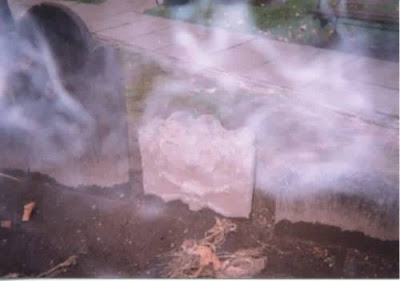 Real Ghost Photo: Veiled Tombstone