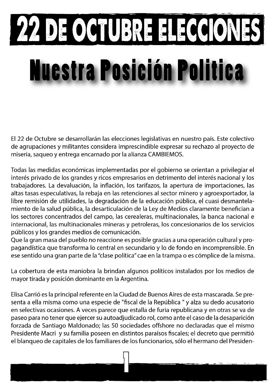 Nuestra Posición Política para las Elecciones del 22 de Octubre