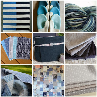 Picture Mosaic Featuring Navy, Blue, Grey, and Oatmeal Colors